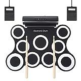 Elektronische Roll Up Drum, YOSASO Elektronische Trainingstrommel mit zwei integrierten Lautsprechern und 9 Pads, 5 Soundmodes mit 2 Pedalen und 2 Drumsticks für Kinder und Anfänger