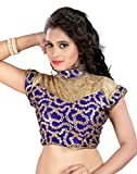 Womens Ethnic Blue Color Fabric Cotton and Net Embroidered Readymade Designer Blouse