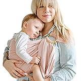 Shabany® - Ring Sling Tragetuch - 100% Bio Baumwolle - Babybauchtrage für Neugeborene Kleinkinder bis 15 KG - inkl. Baby Wrap Carrier Anleitung - rosa (cuddles)