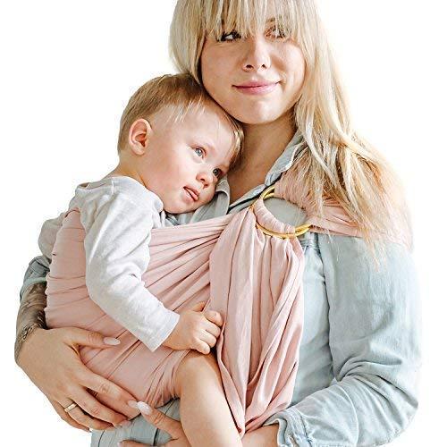 Shabany® - Ring Sling Tragetuch - 100% Bio Baumwolle - Babybauchtrage für Neugeborene Kleinkinder bis 15 KG - inkl. Baby Wrap Carrier Anleitung - rosa (cuddles) -