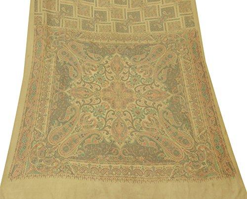 Vintage indische Sari Craft Stoff Satin Silk Paisley Printed Gelb Saree Gebraucht Prop Satin