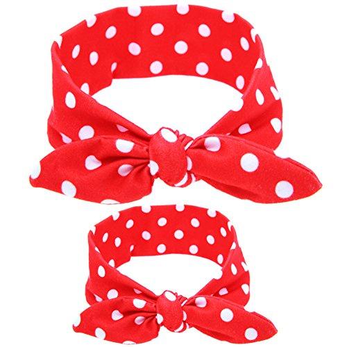 CHIC-CHIC 2pcs Haarband Hairband Headband Recht nette Kaninchen Häschen-Ohr Mutter und Kinder Stirnband Kit Schleife Bowknot DIY Draht Bogen Kopfband (Rot) (Stirnband Kit Diy)
