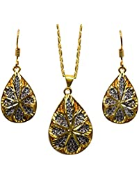 Jyesh Jewel Gold Plated Stainless Steel Fashion Pendant Set With Stud Earrings For Women And Girls