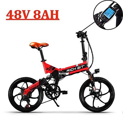 eBike_RICHBIT Aktualisiert 730 E-Bike, E-Fahrrad, Elektrofahrrad, Faltrad Fahrrad, Stadtrad, Citybike, Unisex, Herren, Damen (Rot) - Led 47 Lg Lcd