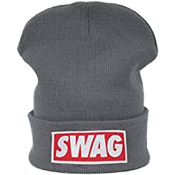 "Gorro de invierno de punto de lana con inscripción ""Bad hair day"" Negro Swag gray regular"