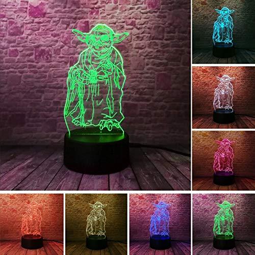 Star War Fans Geschenke Tod Stern Darth Vader Meister Yoda Jedi Führer 7 Farben Farbverlauf 3D Lampe Led Nachtlicht Xmas Neujahrsgeschenke (Stars Geschenke Wars)
