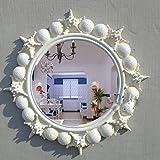 ZI LING SHO- European Circular Starfish Waschen Make-up Spiegel Mittelmeer Home Einfache Badezimmer Spiegel Retro Wand Hanging Dressing Eingang Spiegel WC Beauty Dekoration (Farbe : Weiß)