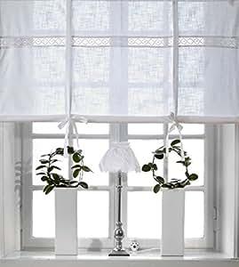 Rideau brise bise rideau store bateau romain rideau blanc for Rideaux cuisine 70 x 120