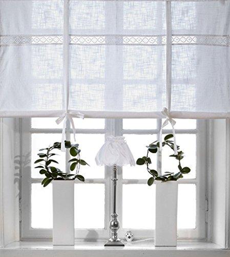 Scheibengardine Raff Gardine Raffrollo Vorhang 'San' 160 x 120 cm (BxH) bestickt mit Spitze weiß...
