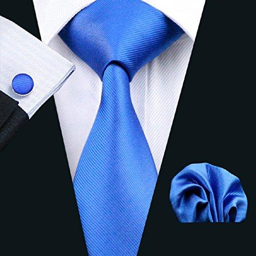 CAOFENVOO Cravate Hanky Cufflinks solides Jacquard en soie tissée cravate de soirée de mariage une affaire d'hommes bleu lac