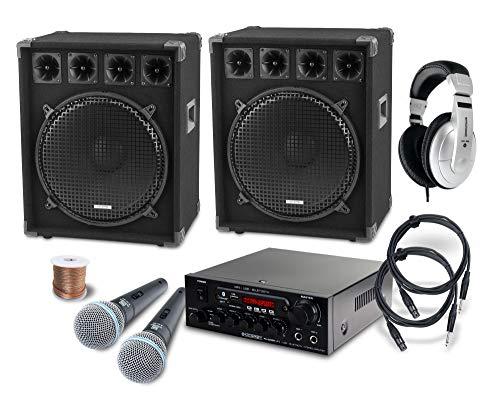McGrey DJ Karaoke Komplettset PA Anlage Party-2500 (Lautsprecher, 2 x 800 Watt, Bluetooth-Endstufe, Verstärker, Lautsprecherkabel, Kopfhörer, Mikrofon, Klemme, Reduziergewinde, Etui, Mikrofonkabel)
