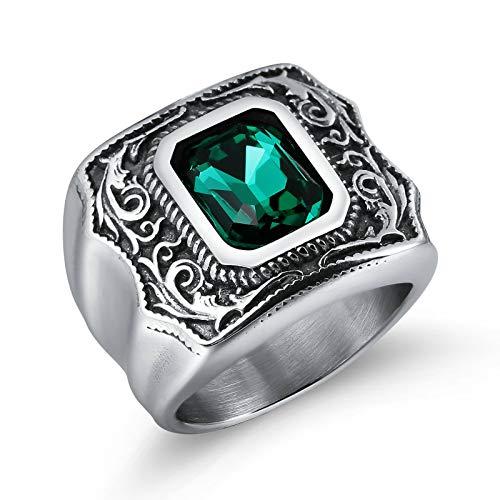 Adisaer Herren Ring Osmanisch Weinlese Ring Rechteckiger Edelstein Spitze Stripes Daumen Ring Edelstahl Grün -