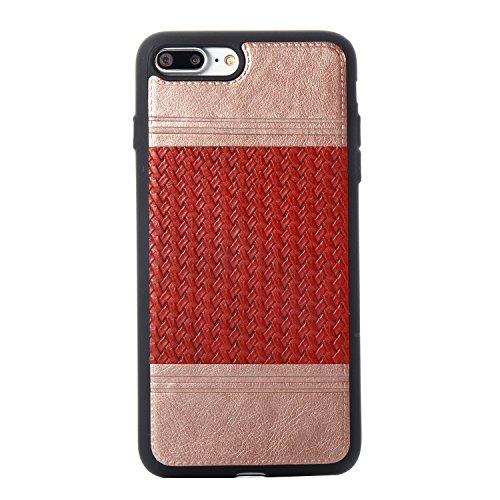 EKINHUI Case Cover Mischfarben Weberei Muster PU Leder Haut Abdeckung Shell Soft TPU / Silikon Rückseiten Fall Fall für iPhone 7 Plus ( Color : F ) J