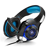 Tlgf Stereo Gaming Headset-7,1 Dolby Surround Stirnband Kopfhörer LED 3,5 Mm Spiel Beleuchtung Mit MIC Noise Abbrechen,Blue