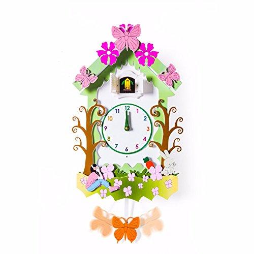KHSKX Kuckucksuhr Kuckucksuhr Wanduhr aus massivem Holz im Garten Wohnzimmer ruhig kreativ cartoon Kinderzimmer der Vogelschlag die Schautafeln,B