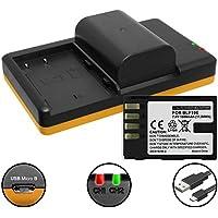 2 Baterías + Cargador doble (USB) para DMW-BLF19, BP-61 / Panasonic Lumix DC-GH5 / DMC-GH3, GH4 / Sigma SD Quattro (H) - contiene cable micro USB