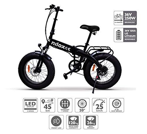 Nilox E Bike X4, Fat Bike Pieghevole – Adulto, Nero, Taglia Unica