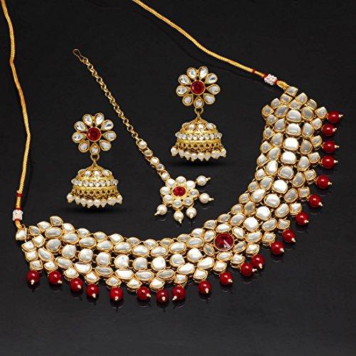 Jaipur Mart Jewellery Set for Women (Maroon)(KN130MRN)