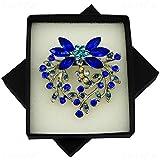 Elixir77UK Brosche, mit Kristallen und Blumenanhänger, Blau / silberfarben
