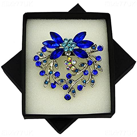 NEW BOXED Silver Bouquet Dangle Flower Brooch Blue & AB Crystals IN BLACK PRESENTATION BOX UK SELLER