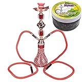 Noveste Hookah Wasserpfeife mit 2 x Schläuchen & Zange Shisha Reiseshisha Rot mit 100gr Shiazo Nikotinfreier Dampfsteine