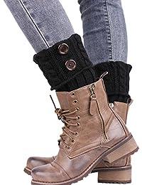 TININNA Bas Guêtre Jambières Legging Chausettes Femme Hiver Chaud Tressé Tricot Bouton Cuissard