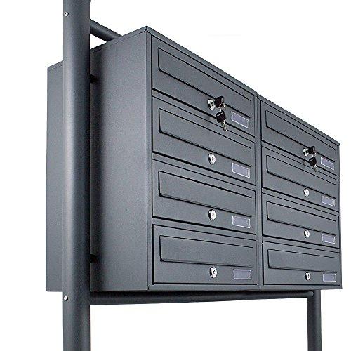 BITUXX® Stand-Briefkastenanlage Postkasten Letterbox Mailbox Doppelt mit 8 Fächer Dunkelgrau Anthrazit - 2