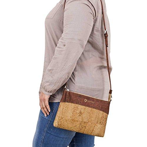 CORKOR Damen Umhängetasche Geldbeutel Schultertaschen Handtasche Schulter Natur-Leder Natur Veganer Korkleder Rot - 2