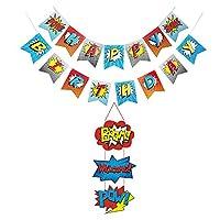 BJ-SHOP Superhero Banner,Superhero Happy Birthday Banner Superhero Door Sign for Party Supplies Decorations