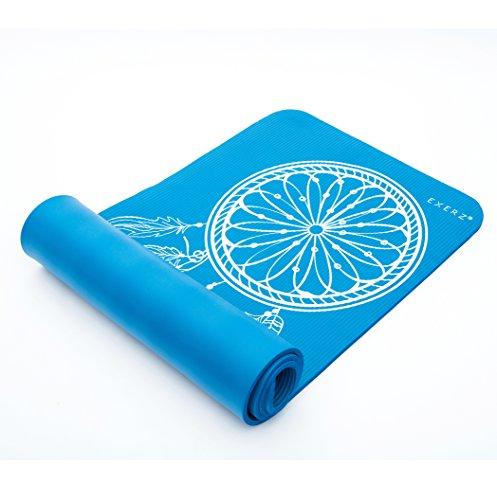 Exerz Colchoneta De Yoga / Gym Mat con una correa de transporte y bolsa - XL 183 x 61 cm / 10 mm Espesor - Alta Densidad / Antideslizante, Colchoneta de Fitness para Gimnasio / Certificado Eco Friendly / Pilates / Dream Catcher Imprimir (Azul)