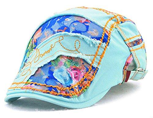 TJBGADIEMS Spitze-Barett-Kappen-Flecken-flache Spitze-Hut-Bäcker-Hütte für Lady Frauen Weibliche Gute Textur Weich Leicht und Breathable atmungsaktiv(blau)