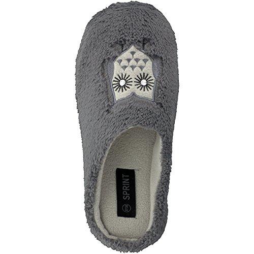 BRANDSSELLER Trendige Hausschuhe Pantoffeln mit Eulen-Motiv für Damen - in den Größen: 37-42 Grau