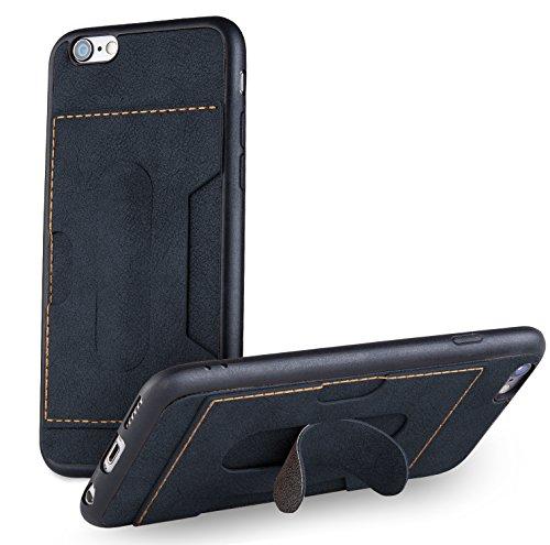 MyGadget TPU Silikon Hülle für - Apple iPhone 6 / 6s - ultra dünn (1 mm) inkl. Staubschutz Gummi Schutzhülle Cover Crystal Case Silikonhülle in Grau Kunstleder Blau