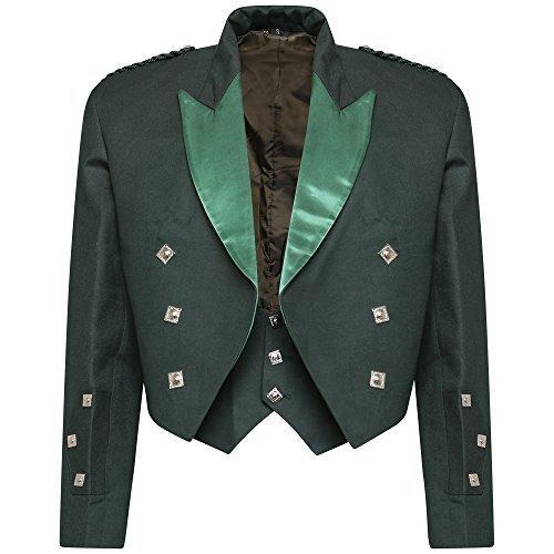 Star Leather Neu Jungen & Herren grün schottisch Prinz Charlie Kilt Jacke & Weste Hochzeit/Party (alle Größen) - Grün, 56 Regular (Leather Star)
