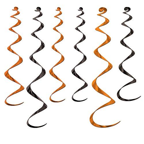 6 Décorations à suspendre spirale noir et orange Halloween - taille - Taille Unique - 228094