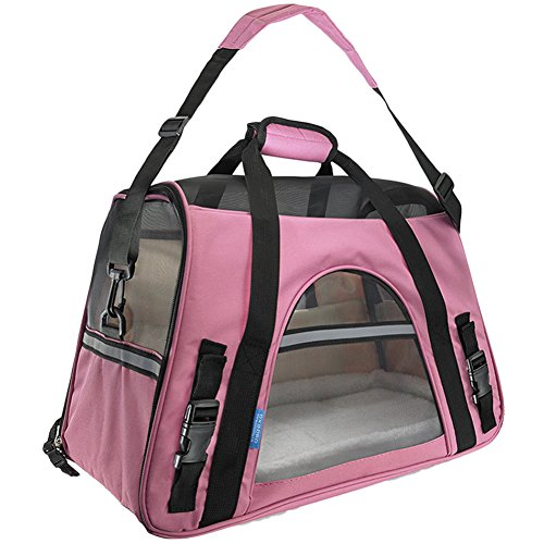 Hundetragetasche Katzentragetasche Haustiertasche Tragetasche Transporttasche Hunde Katzen Tragbar Transportbox Pink L