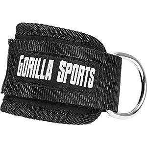 GORILLA SPORTS® Fußschlaufe Fitness Schwarz Einzeln / 2er Set – Ankle Strap gepolstert für Kabelzug