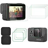 TaichiAqua Protector de pantalla de vidrio templado para GoPro Hero 6 5 con tapa de lente Tapa de 6 piezas accesorios de cámara de acción ultrafina