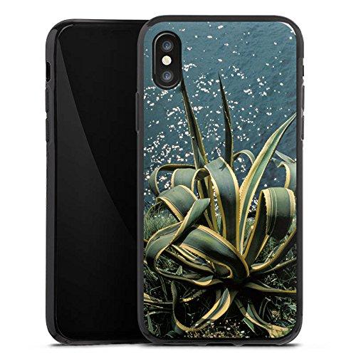 Apple iPhone X Silikon Hülle Case Schutzhülle Kaktus Ufer Blätter Silikon Case schwarz