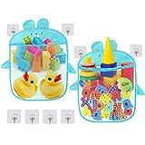 EQLEF Badespielzeug Aufbewahrung Dusche, blau Bär Spielzeug Mesh Aufbewahrungstasche Kinder Spielzeug Veranstalter Halter für Badewanne mit selbstklebenden Haken (2 Stück)