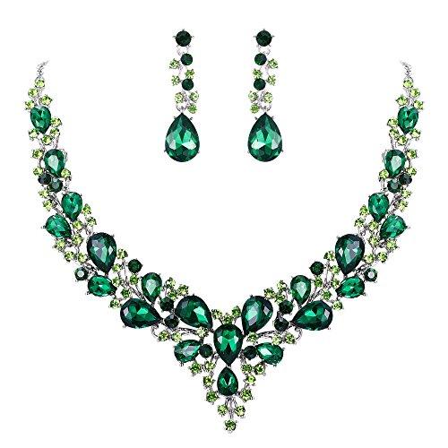 Clearine Damen Hochzeit Braut Österreichen Kristall Tropfen Cluster Statement Halskette Dangle Ohrringe Schmuck Set Smaragd-Grün Silber-Ton