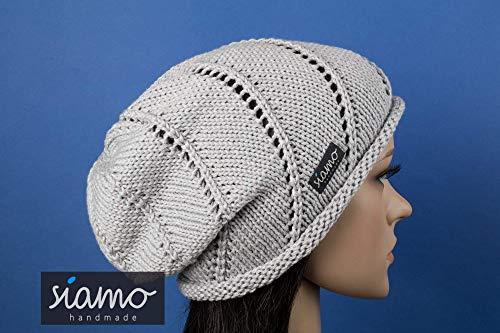 Sommer-Beanie ROM II hellgrau Sommer-Mütze von siamo-handmade Baumwolle