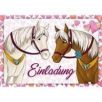 12 Pferde-Einladungen (Set 1)/Geburtstagseinladungen Kinder Mädchen Jungen: 12-er Set liebevoll illustrierte Pferde-Einladungskarten zum Kindergeburtstag von Mädchen von EDITION COLIBRI (10741)