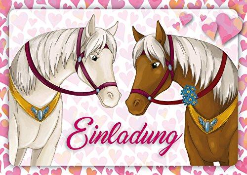 12 Pferde-Einladungen (Set 1) / Geburtstagseinladungen Kinder Mädchen Jungen: 12-er Set liebevoll illustrierte Pferde-Einladungskarten zum Kindergeburtstag von Mädchen von EDITION COLIBRI (10741)