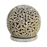 Hand carved Globe Shaped Candle Holder Tea Lights Lamps Soapstone Carving Lattice Design Home Accent Decorative Table Top Accessory