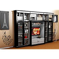 Comparador de precios Casa-Padrino Luxury Living Room Wall Unit Black/White B 372 x H 255 cm Bookcase Shelving Cabinet Television TV - Art Deco Art Nouveau Hotel Furniture - precios baratos