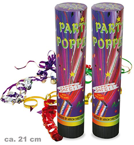 Party Popper 2er Set Konfetti Kanone Shooter Konfettishooter 21 cm Silvester Party Feier Accessoires