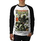 wellcoda Geek Zeitschrift Männer XL Baseball LS T-Shirt