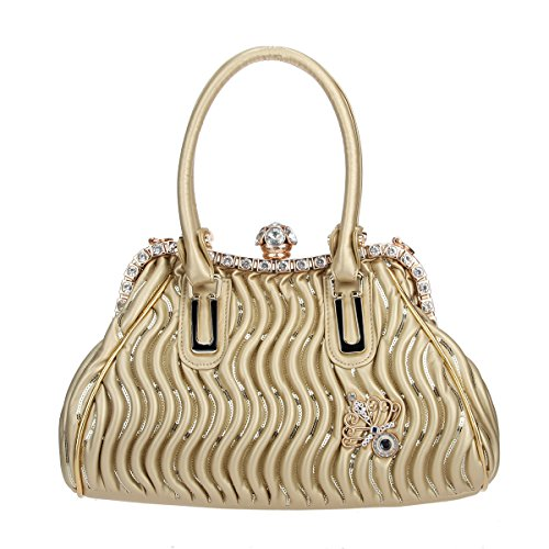 Bonjanvye Butterfly Spherical Crystal Ball Hand Bags for Women Pu Leather Purse and Bags Gold