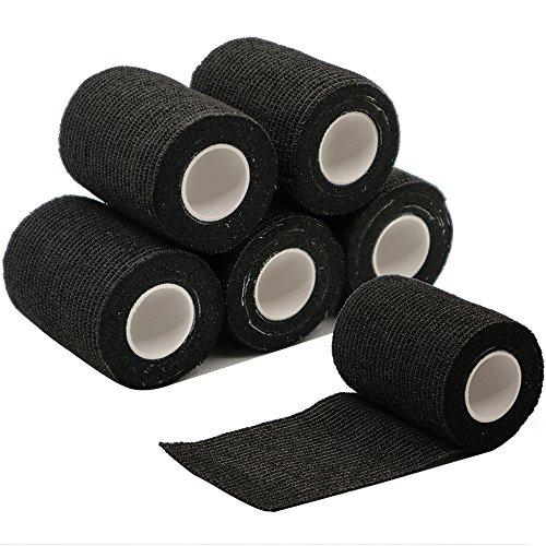 Verbände, Bandagen (6 Rollen Selbsthaftende Bandage, Wundverband, Sport Elastischer Verband, 7.5cm x 4.5m - Schwarz)